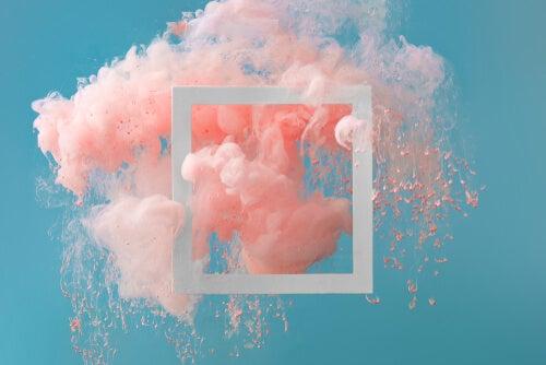 Cuadro con humo rosa
