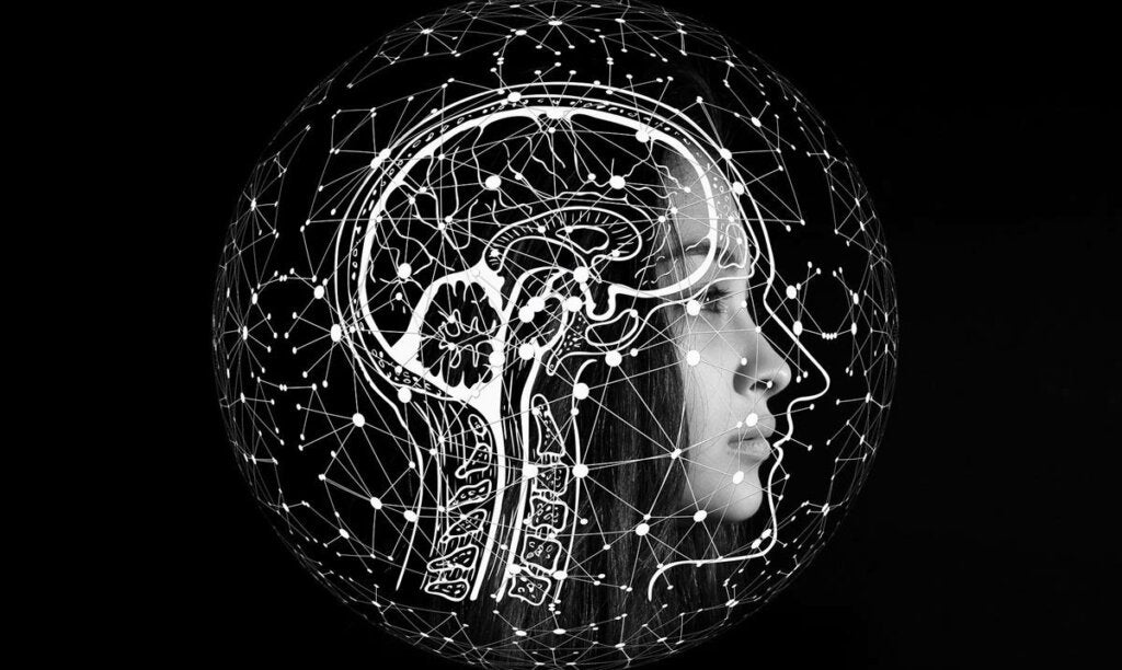 cerebro con rostro femenino para simbolizar si es posible no pensar