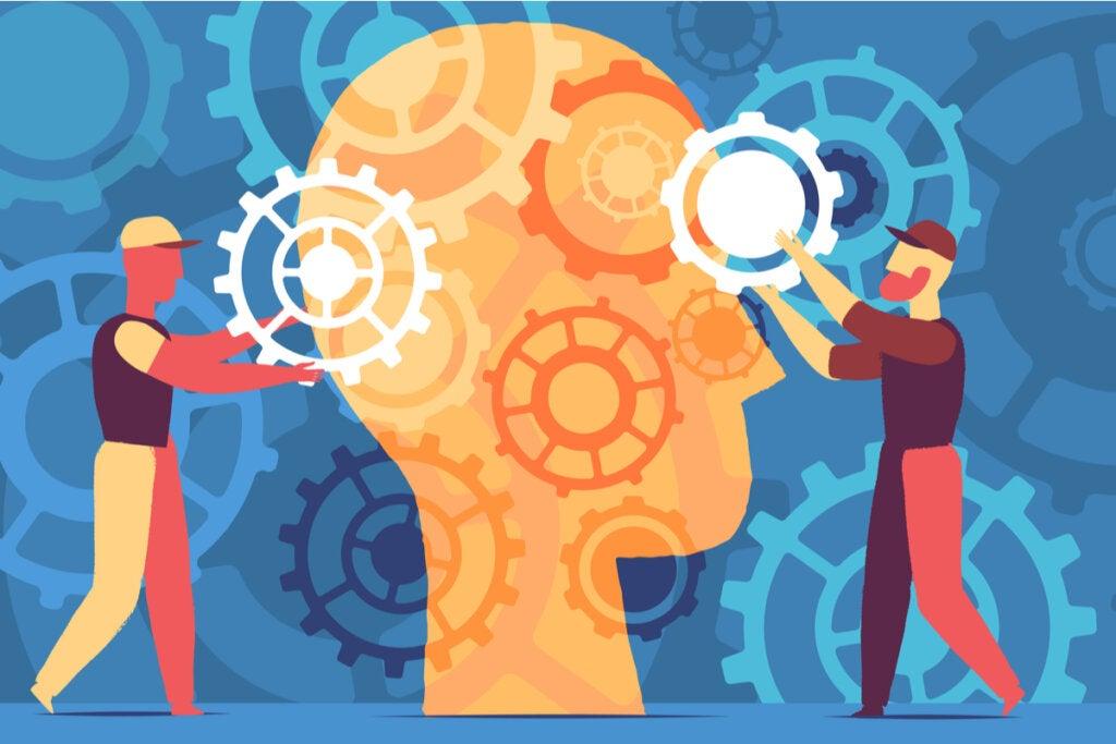 mente con mecanismos simbolizando juegos para ejercitar la mente
