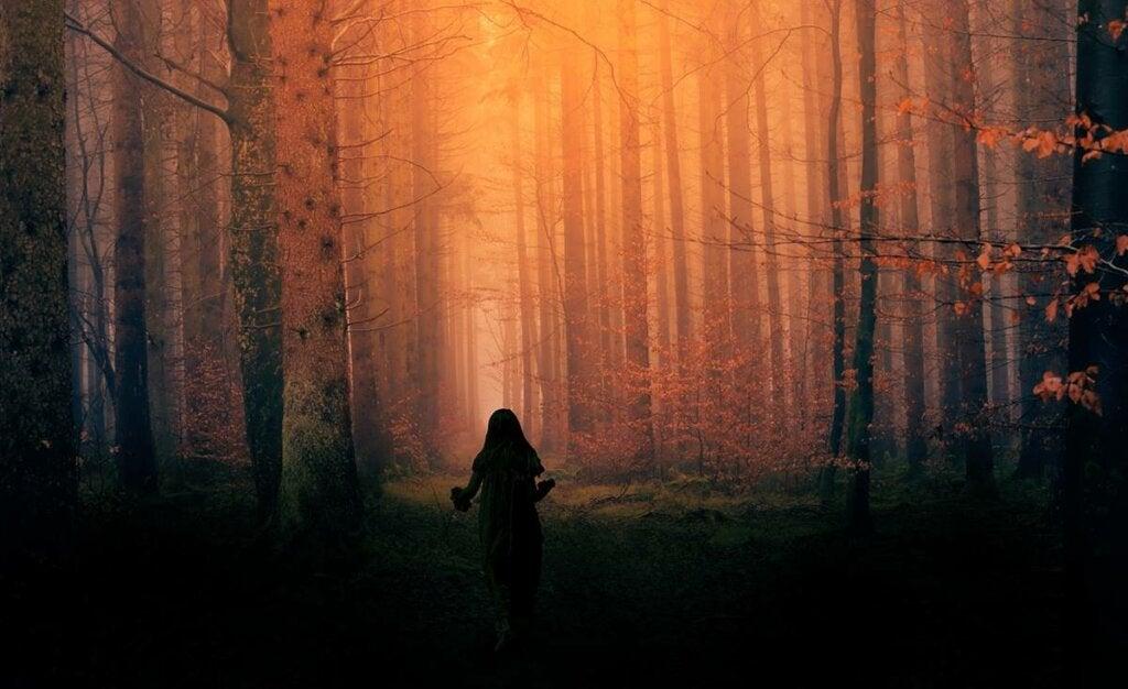 niña simbolizando cuando las tristezas nos persiguen como lobos feroces